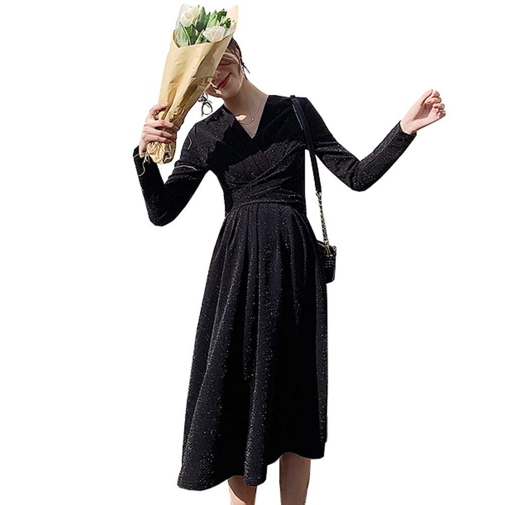 Black WF Red Dress Long Skirt  Women's Spring and Summer LongSleeved hot mom Out Breastfeeding Clothes Maternity Dress (color   Black, Size   OneSize)