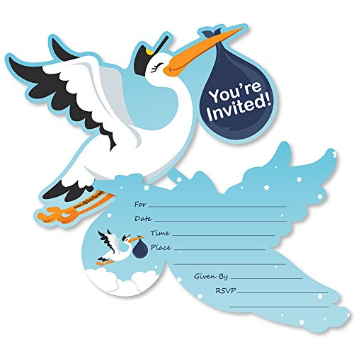(Boy Special Delivery - Shaped Fill-in Invitations - Blue It's A Boy Stork Baby Shower Invitation Cards with Envelopes - Set of 12)