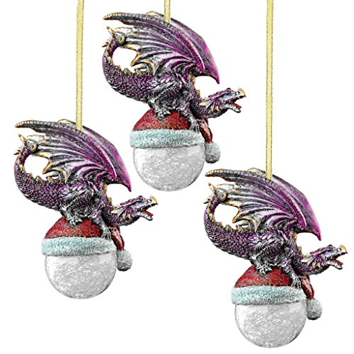Design Toscano Christmas Tree Ornaments - North Pole Santa Hat Dragon Holiday Ornament: Set of Three - Snowflake Dragon Ball Ornament