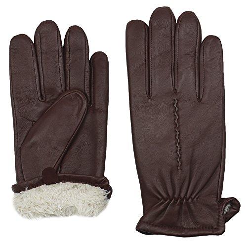 GRANDOE Men's CLYDE Premium 100% Sheepskin Leather Glove (Copper, Large) ()