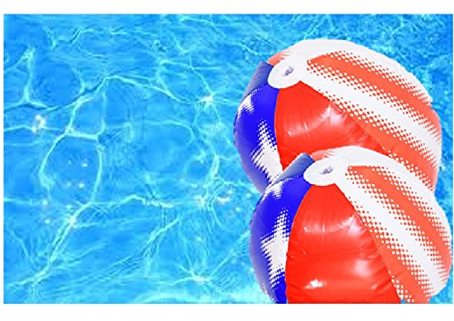G I Inc Inflatable Beach Balls - White Blue Red Patriotic Themed - Large Swimming Pool Party 2 Pack (Stars)