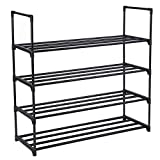 SONGMICS 4-Tier Shoe Rack Metal Shoe Tower Shelf Storage Organizer Cabinet 35 9/16'' L x 11 7/8'' W x 33 1/4'' H Black ULSA14BK