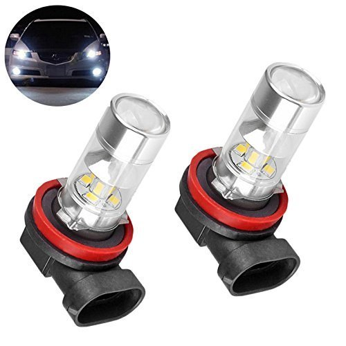 Bonlux H11 H8 Day Driving LED Car Fog Light Bulbs 10-30V AC/DC DRL Daytime Running Light 6000k Super Bright White Projection Bulb (Pack of 2)