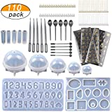 LAMPTOP [Upgrade] 110PCS Jewelry Casting Molds, Silicone Resin Molds with 40 Screw Eye Pins,40 Straight Pins,5 Plastic Stirrers,5 Plastic Spoons,5 Plastic Droppers and 3 Material Golden Stickers