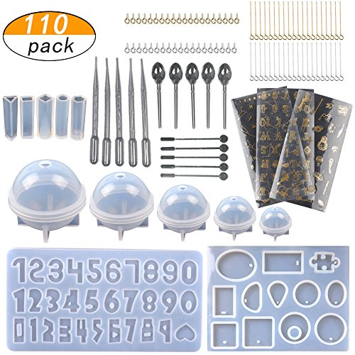 LAMPTOP [Upgrade] 110PCS Jewelry Casting Molds, Silicone Resin Molds with 40 Screw Eye Pins,40 Straight Pins,5 Plastic Stirrers,5 Plastic Spoons,5 Plastic Droppers and 3 Material Golden Stickers by LAMPTOP