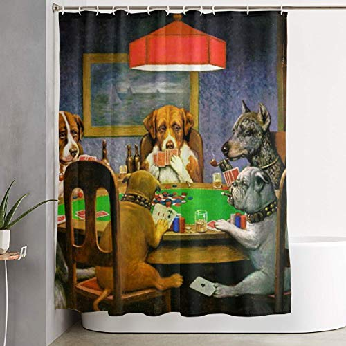 Dog Play Poker (Yanghl Humor Dog Play Poker Cards Shower Curtain Waterproof Polyester Fabric Home Bathroom Decor Set With Hooks - 60x72 Inch)