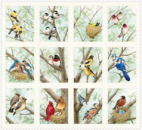 1 Panel Beautiful Birds by Tracy Lizotte Elizabeth Studios 100% Cotton Quilt Fabric 4309 Cream