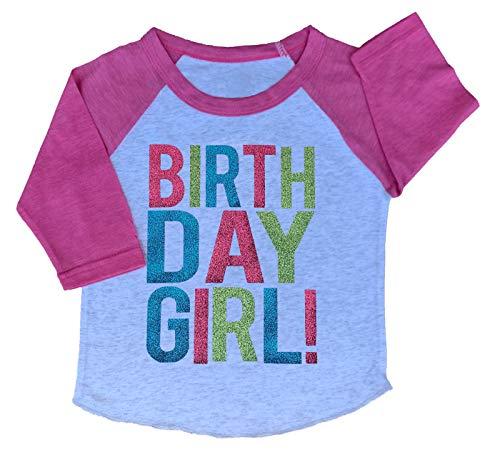 SoRock Birthday Girl Toddler Kids Glitter T-Shirt (White w/Vintage Pink Sleeves, 4 Toddler) ()
