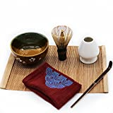 Mocha Chadao Matcha bowl | Match Whisk ( purple bamboo) & Tea Scoop | Matcha Bowl | Whisk Holder |Tea Cloth |Gift Box |Best Authentic Accessories For Japanese Matcha Green Tea Ceremony