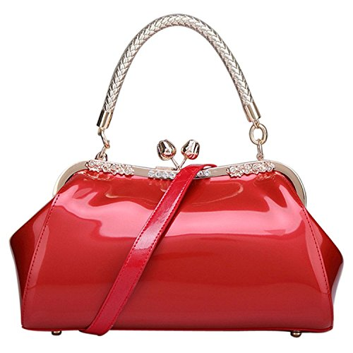 C&L Fashion Patent Leather Handbags KissLock Structured Womens Purse with Removable Strap (Red)