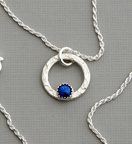 Tiny denim lapis lazuli necklace sterling silver little infinity open circle modern jewelry
