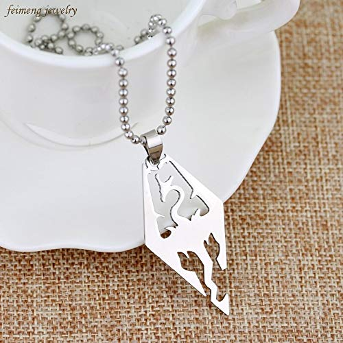 FITIONS - New Trendy Skyrim Dragon Pendant Stainless Steel Necklace TES Dragon Logo Game Fantasy Amulet Elder Scrolls Pendant Tag Chain