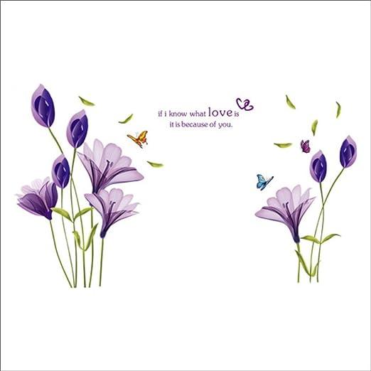 RALCAN Romántico Tulipanes Púrpuras Flores Amor Pegatinas De Pared ...