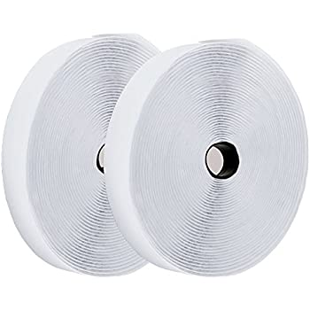 Hook and Loop Tape Roll Self Adhesive Back Fastening Strips by TOPtoper 1 Inch x 32.8 Feet (White)