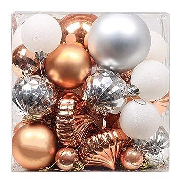 Christbaumkugeln Kupfer.Valery Madelyn 50 Stucke 3 8cm Weihnachtskugeln Kunststoff Christbaumkugeln Set Kupfer Silber Mit Aufhanger Weihnachtsbaumschmuck Weihnachtsdekoration