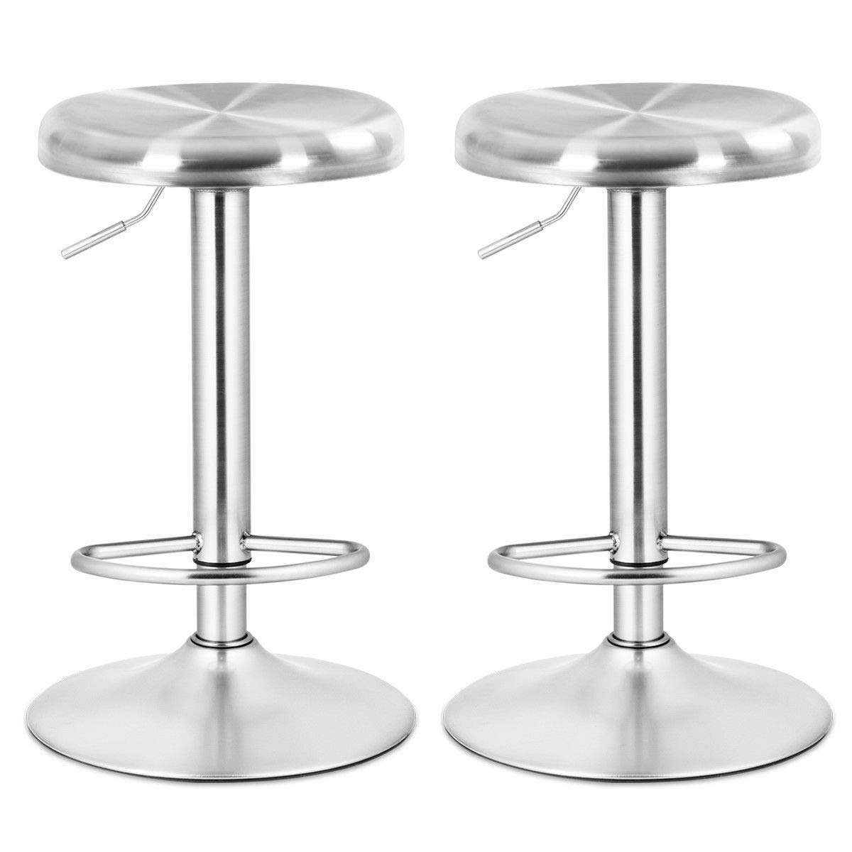 COSTWAY Bar Stool, Modern Swivel Adjustable Height Barstool, Stainless Steel Round Top Barstools with Footrest, for Pub Bistro Kitchen Dining Set of 2