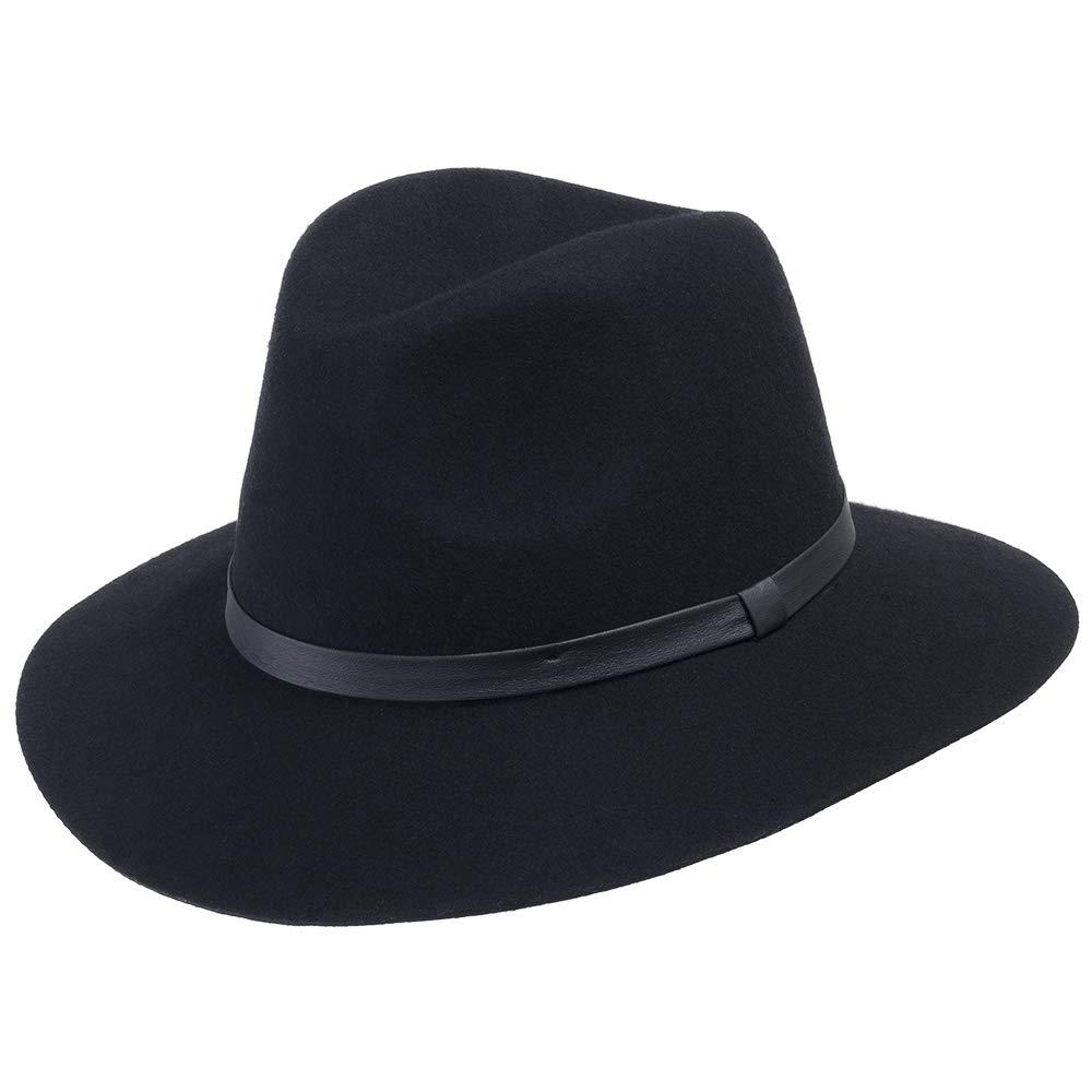 Ultrafino Aster Wool Felt Floppy Brim Fedora Hat for Fall and Winter Black 6 3/4