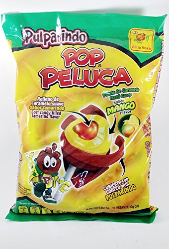 Bag Of Pulparindo Pop Peluca Mango Flavor Of 18 pcs Mexican Candy with Free Chocolate Kinder