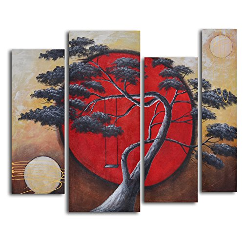 TJie Art Hand Painted Mordern Oil Paintings Crimson Sun / Midnight Moon 4-Piece Oil Painted Wall Art Set Asian-inspired modern painting in nature theme,set with differing canvas sizes,Gallery stretched over wooden frames for hanging