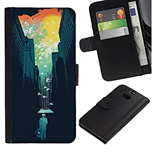 EuroTech - HTC One M8 - City Art Nature Colorful Minimalist Teal - Cuero PU Delgado caso Billetera cubierta Shell Armor Funda Case Cover Wallet Credit Card