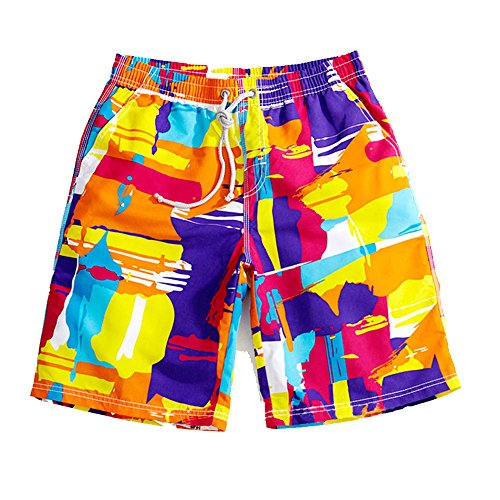 Lifeisbest Men's Summer Board Short colourful Beach Swim Trunks S