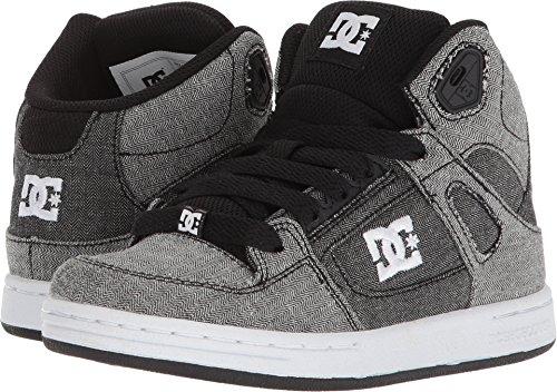 DC Boys' Pure High-Top TX SE Skate Shoe, Grey/White/Grey, 5 M US Big (Dc Pure Boys Shoes)