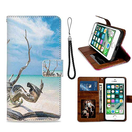 (mophinda Wallet Case Compatible iPhone 6s Plus | iPhone 6 Plus (5.5 Version) Driftwood,Seascape Theme Branches on The Sandy Beach of Cuba and The Sky Image,Turquoise Sky Blue Series)