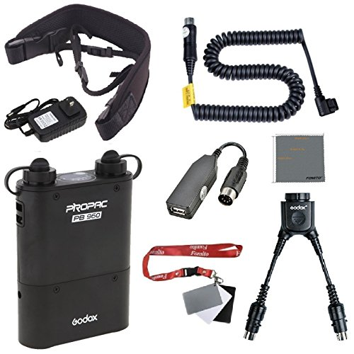 Fomito Godox PB960 Portable Extended Flash Power Battery Pack Kit Dual Output for Canon 600EX, 580EX II, 550EX, 430EZ, for Yongnuo Flashes,for AD600 AD360II AD360 AD180, for Mobile phone by Fomito