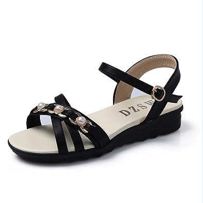 Weibliche Sandalen Rutschhemmend Frauen Schwangere Frauen mit Flachem Boden Weich Mutter Schuhe, 34 EU, Saphirblau XZGC