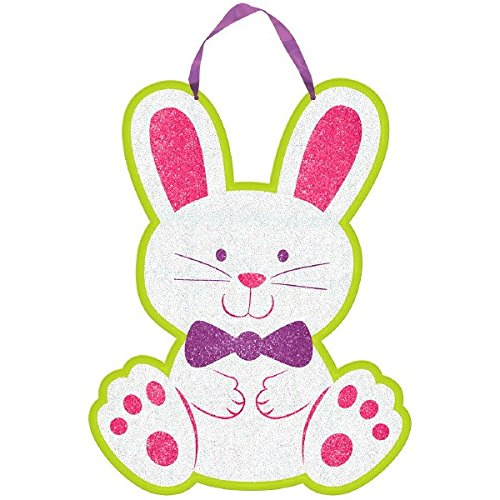 Egg-stra Special Easter Bunny Sign with Ribbon Hanger Party Decoration, Fiberboard , 11