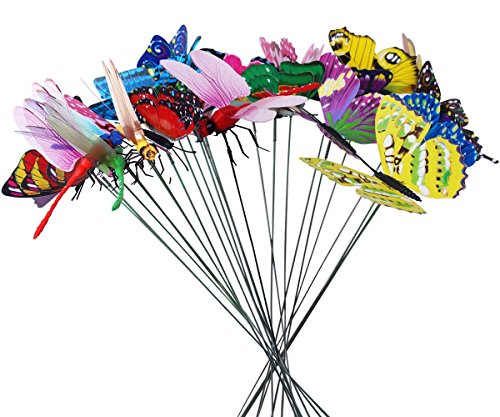 Homgaty 25Pieces Colourful Garden Butterflies Dragonflies On Sticks Butterfly Stakes Patio Ornaments Plant Outdoor Yard Decoration -