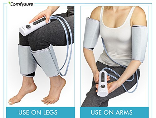 ComfySure Arm and Leg Massager with Calf Compression Wrap - FDA Cleared, Boosts Circulation, 2 Modes, 3 Intensities - Muscle Relaxer in Legs, Forearm for DVT Blood Clots, Edema & Diabetes