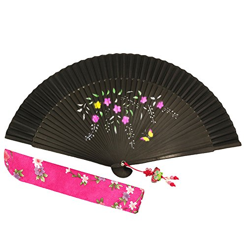 "Wise Bird Chinese Japanese Folding Hand Fan, Fashion Accessories Vintage Retro Style 8"" Bamboo/Wood/Sandalwood Fan, Silk Pocket Purse Fan, Wedding Favors, Home Decor with Sleeve/Embroidery Tassel-F420"