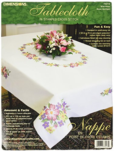 Dimensions Needlecrafts Stamped Cross Stitch, Wild Roses Tablecloth