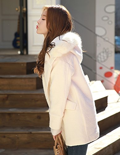 Xuanku Winter Long Hat Hooded White Woolen Coat Thick Hair Collar Coat White