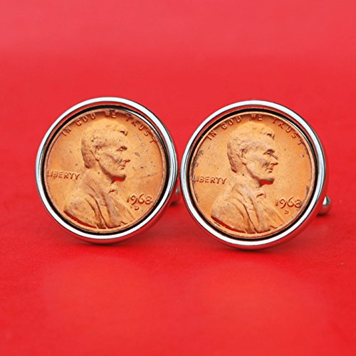 US 1968 Lincoln Small Cent BU Uncirculated Coin Silver Plated Cufflinks NEW - Lucky Penny