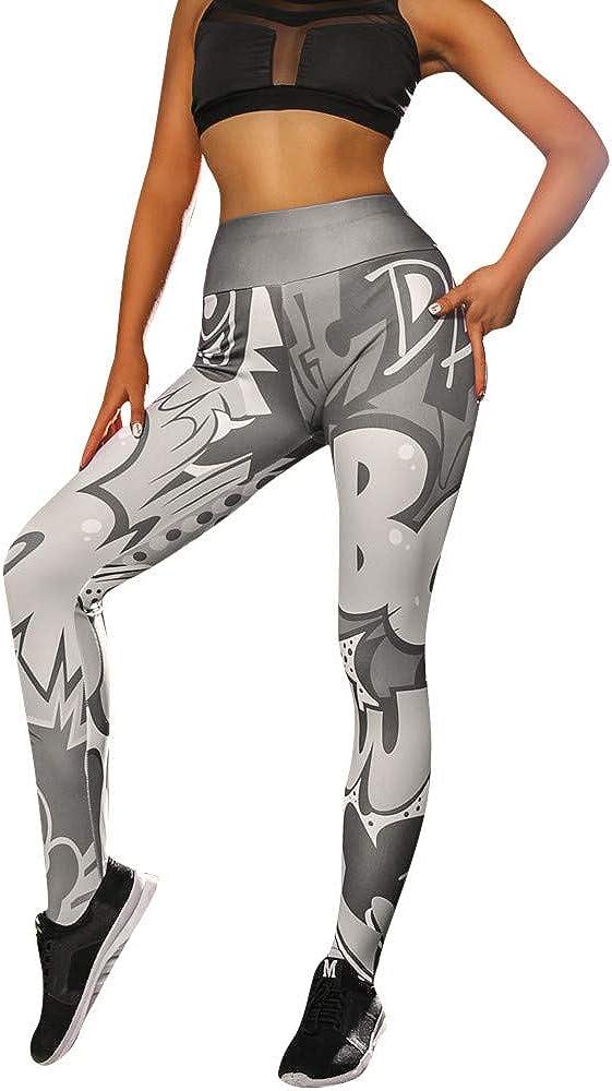 MEIbax Leggings Mujer Yoga Pantalones Moda elásticos Impresión de ...