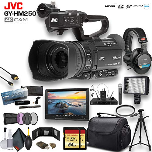 JVC GY-HM250 UHD 4K Streaming Camcorder W/ 2 X 64GB Memory Card, Tripod, Rode Mic, External Monitor, Sony Pro Headphones, Case, LED Light, and More Premium Bundle