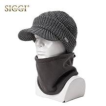 Siggi Mens Thick Wool Knit Visor Beanie Newsboy Hat Winter Jeep Cap Fleece Mask