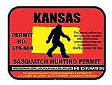 Kansas Sasquatch Hunting Permit License Bigfoot Vinyl Sticker Decal