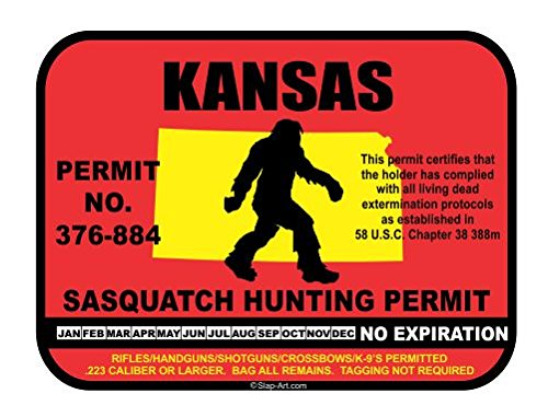Kansas Sasquatch Hunting Permit License Bigfoot Vinyl Sticker Decal
