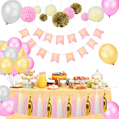 Sugoiti Birthday Party Decorations - Happy Birthday Banner Tissue Paper Flower Pom Poms Paper Tassel Balloons Pink/Gold/Ivory Party Decoration Nursery Room Decor by Sugoiti