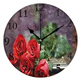 Dozili Most Beautiful Red Roses Round Wall Clock Arabic Numerals Design Non Ticking Wall Clock Large for Bedrooms,Living Room,Bathroom