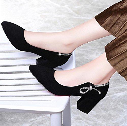 Zapatos Ocasionales Gruesos Zapatos Black Mujer Zapatos Coreanos MUYII Para Primavera Moda De De Nuevos Antideslizantes Tacones Con Altos La Zaxzdfx
