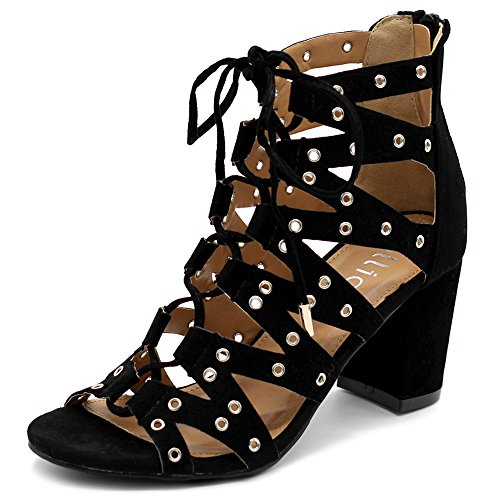 Ollio Womens Shoe Faux Suede Lace Up Gladiator Ankle High Booties NOVEL01 (6.5 B(M) US, Black) Gladiator High Heel
