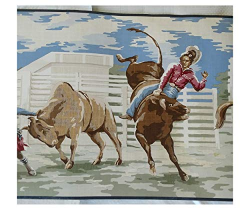 Wallpaper Border Western Cowboy Broncos Roping