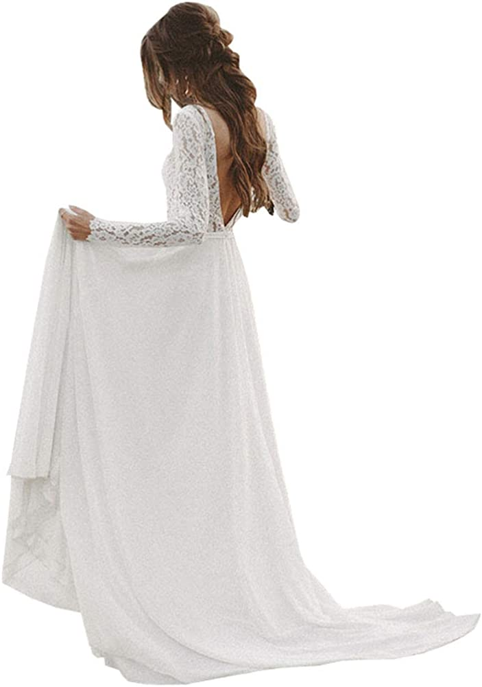 Everlove Lace Wedding Dress For Women Long Sleeve Bridal Gown Beach Open Back At Amazon Women S Clothing Store