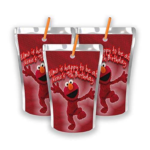 - 12 Personalized Elmo Birthday Party Juice Pouch Labels