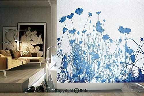 Decorative Privacy Window Film/Silhouette of Summer Wildflowers Blooms Grass Garden Foliage Stylized Illustration/No-Glue Self Static Cling for Home Bedroom Bathroom Kitchen Office Decor Blue White