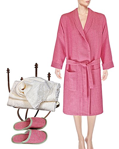 Armani International Waffle-Knitted Robe Slippers Guest Towel Hand Towel X-Large Natural Rose